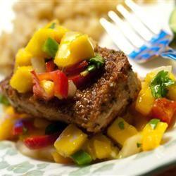 Blackened Tuna Steaks with Mango Salsa (Any fish is good this way!)http://allrecipes.com/recipe/blackened-tuna-steaks-with-mango-salsa/detail.aspx