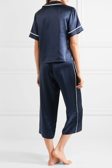 Olivia von Halle - Daria Silk-satin Pajama Set - Storm blue - 4
