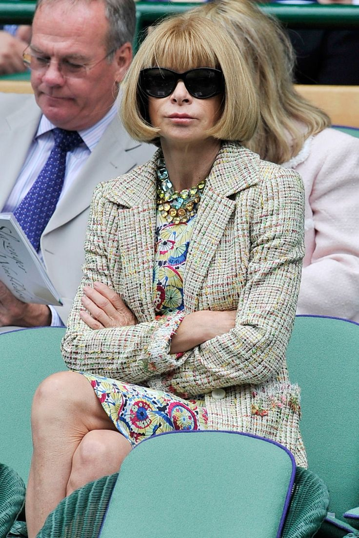 - Anna Wintour, 2010 - The fashion legend treats a Wimbledon match exactly as she would a catwalk show: by dressing immaculately and wearing a perma-scowl. -