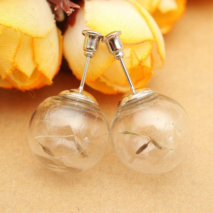 Glass Bottle Bubble Dandelion Earrings