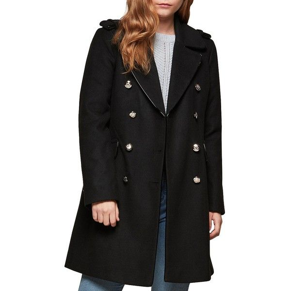 Miss Selfridge Women's Military Coat ($124) ❤ liked on Polyvore featuring outerwear, coats, black, miss selfridge coats, military field coat, miss selfridge, military-style coats and long sleeve coat