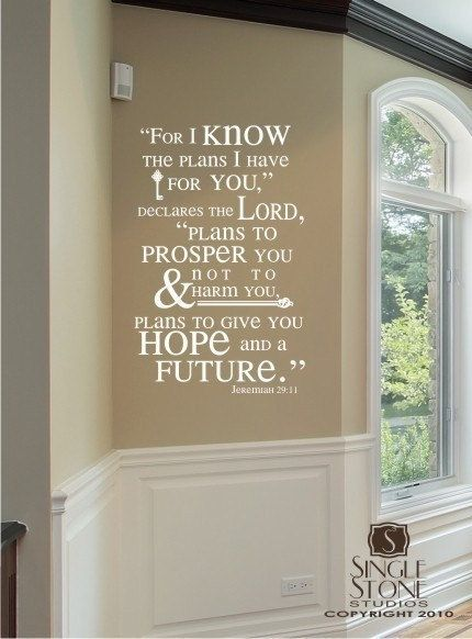 Bible Verse Wall Decals Jeremiah 29:11 - Vinyl Wall Stickers Art Scripture