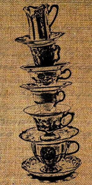 Digital Collage Sheet Burlap Stacked Tea Cups Whimsical Tipsy Digital Download Fabric Transfer To Pillows Tote Tea Towels Scrapbooking 1459