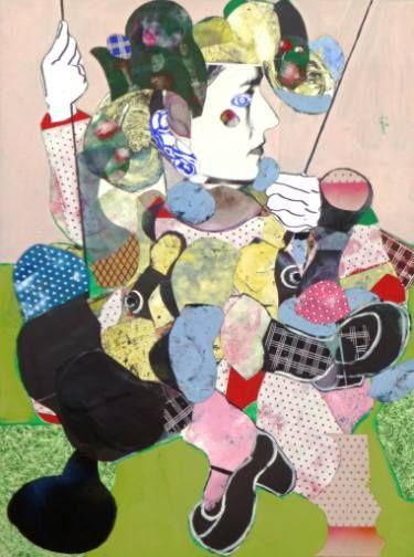 """Artist: Pascal Marlin; Paint 2015 Collage """"femme à la balançoire"""""""