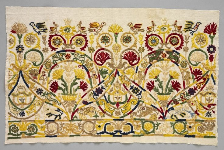 Fragment of a Skirt Border, 1700s Greece, Crete, 18th century  embroidery: silk on linen tabby ground,