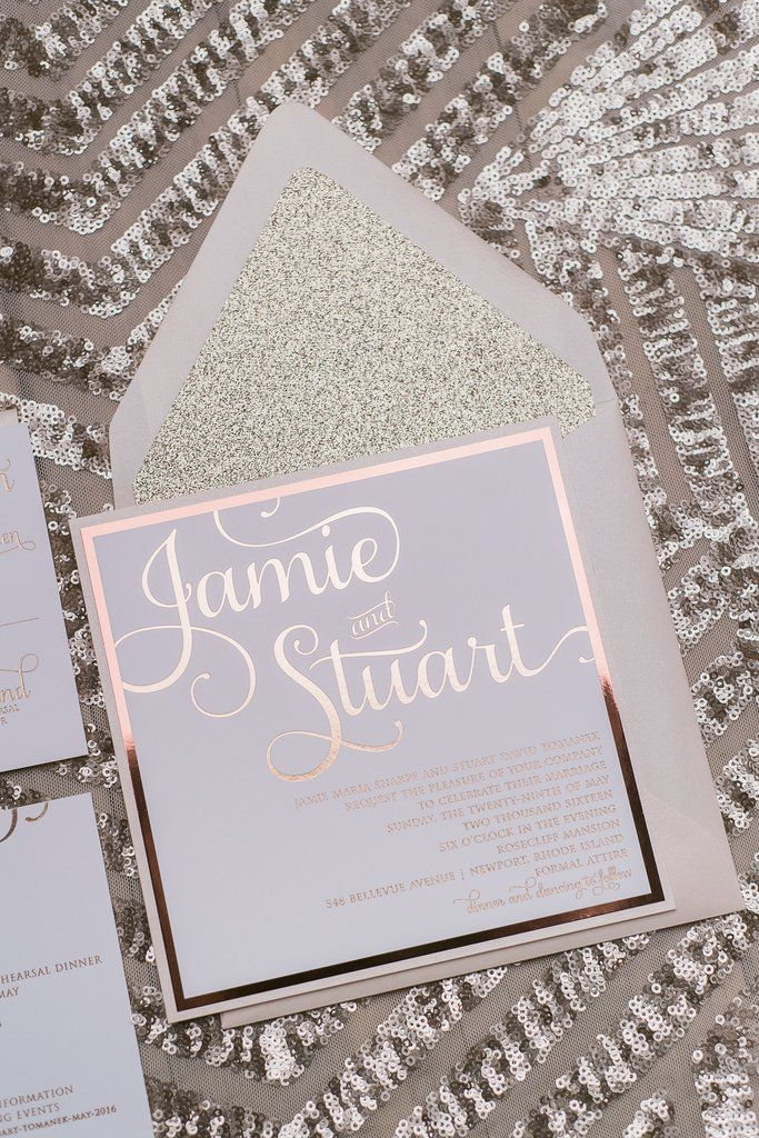 ADELE Suite // STYLED // Fancy Glitter Package, rose gold foil, rose gold glitter, foil stamped wedding invitations, square wedding invitations