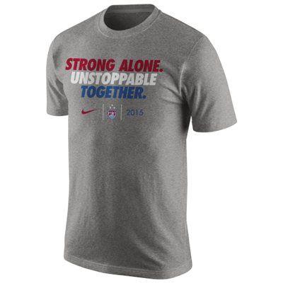 US Women's Soccer Team Nike 2015 World Champions Slogan Dri-FIT T-Shirt - Heather Gray