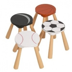 Dont forget to add some furniture pieces to your childs sports bedroom theme. From sports stools like the ones pictured here to sports lockers...