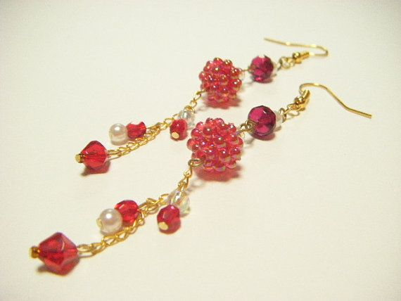 Red dangle earrings beaded dangle earrings long by Coloramelody
