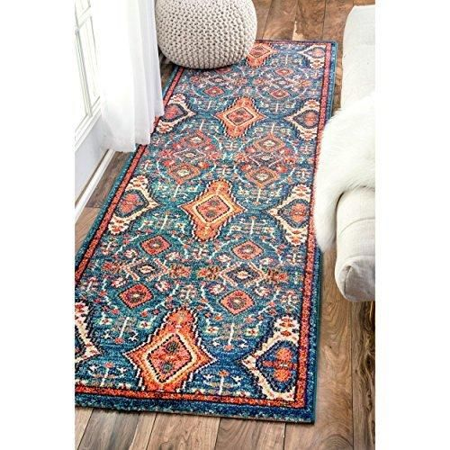 2'6 x 8' Traditional Ornamental Diamonds Color Runner Rug Polypropylene Oriental Country Floral Flower Pattern Rectangle Soft Plush Pretty Indoor