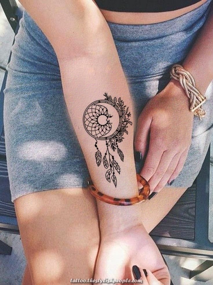 Small Dream Catcher Arm Tattoo Concepts For Girls Black Henna Tribal Boho Feat Pattern Tattoo Dreamcatcher Tattoo Arm Dreamcatcher Forearm Tattoo