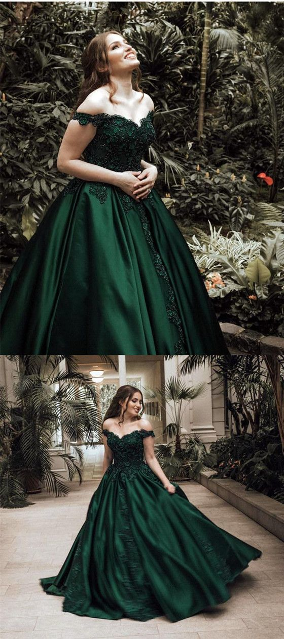 Off-shoulder Lace Appliques Ball Gown, Long Prom Dresses