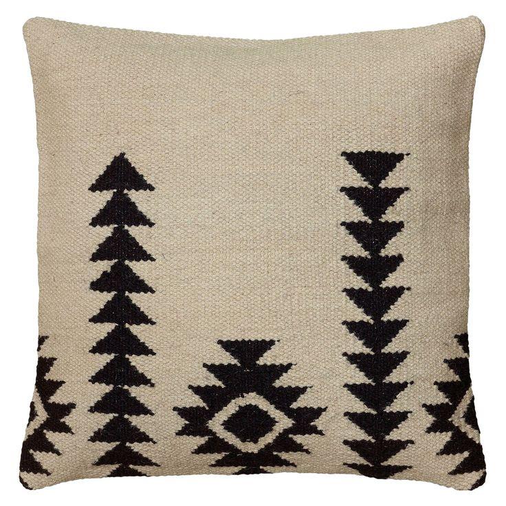 """Ivory/Black Textured Southwestern Stripe Throw Pillow (18""""x18"""") - Rizzy Home"""
