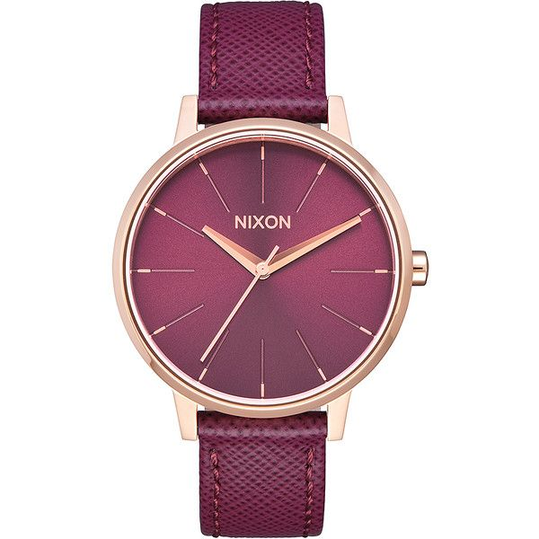 Nixon Kensington Leather Watch Gold Cotton ($150) ❤ liked on Polyvore featuring jewelry, watches, analog watches, gold, womens watches, gold jewellery, gold wristwatch, yellow gold watches, cotton jewelry and analog wrist watch