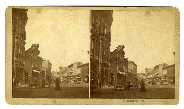 ATLANTA PHOTOGRAPHERS - STEREOVIEW OF PEACHTREE STREET IN ATLANTA TAKEN BY M.M. & W.H. GARDNER, CIRCA 1880