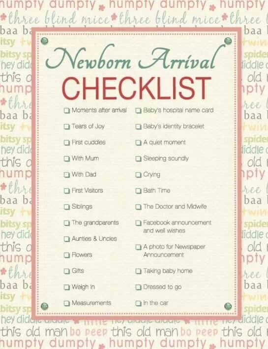 11 best Checklists images on Pinterest Photography, Baby - sample newborn checklist