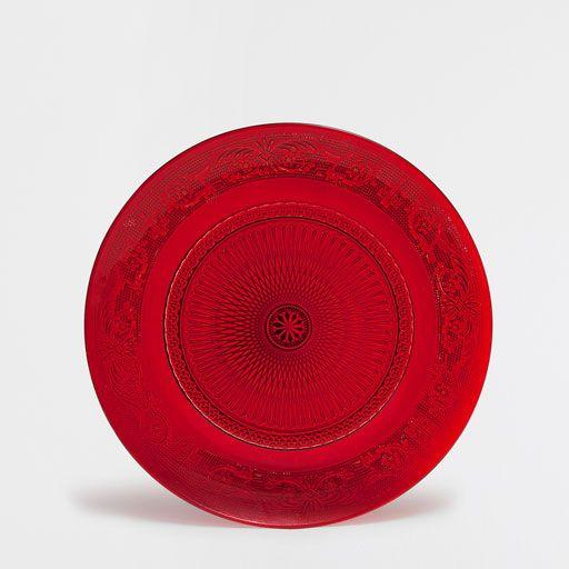 Prato marcador vidro vermelho talhado