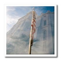 3dRose - Jos Fauxtographee Realistic - A Double Exposure of the St. George, Utah LDS Temple in the Background with a USA Flag in Front