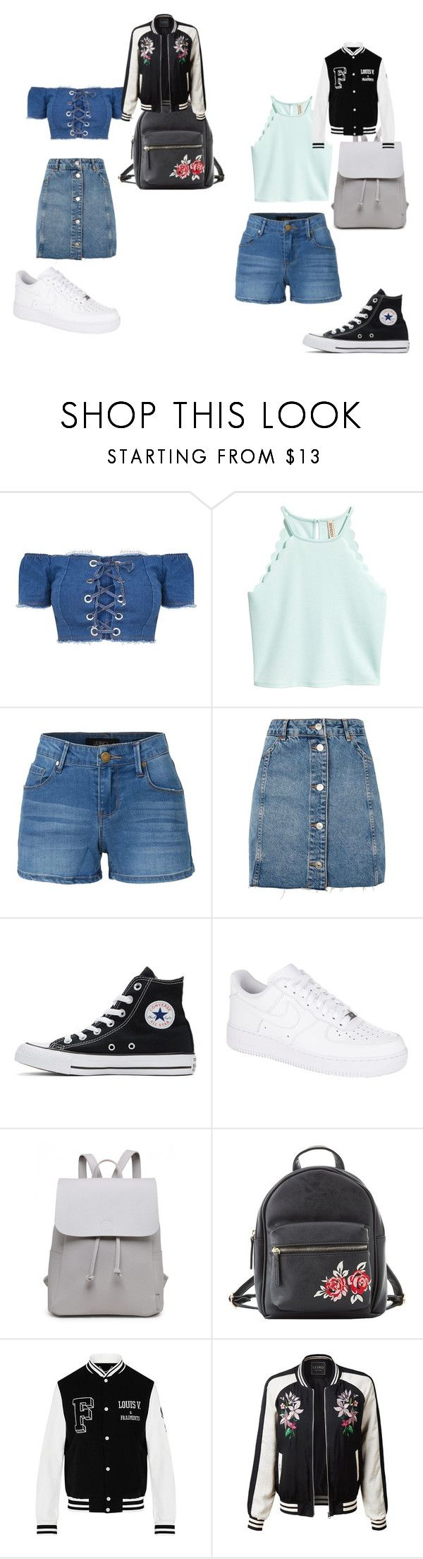 """Untitled #70"" by kimmomochan on Polyvore featuring LE3NO, Topshop, Converse, NIKE and Charlotte Russe"