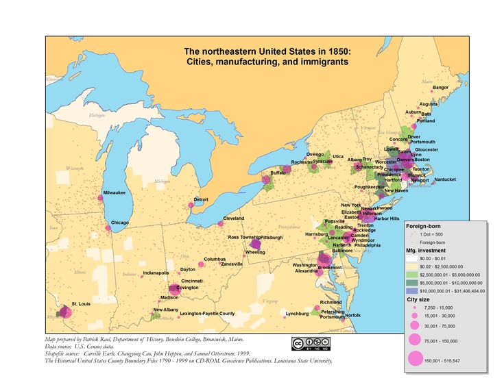 Northeastern US Cities Immigration And Industrial - Immigration map us