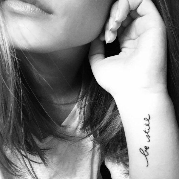 Be Still Tattoo On Girl Wrist