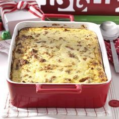 Cheese Grits & Sausage Breakfast Casserole Recipe -I can't resist this breakfast casserole. It bring all my favorites into one dish: creamy grits, tangy cheese, rich eggs and flavorful sausage! It's the perfect alternative to traditional breakfast casseroles. —Mandy Rivers, Lexington, South Carolina