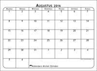Kalender augustus 2016 af te drukken, gratis. Maandelijkse kalender : Maximus (M). De week begint op maandag