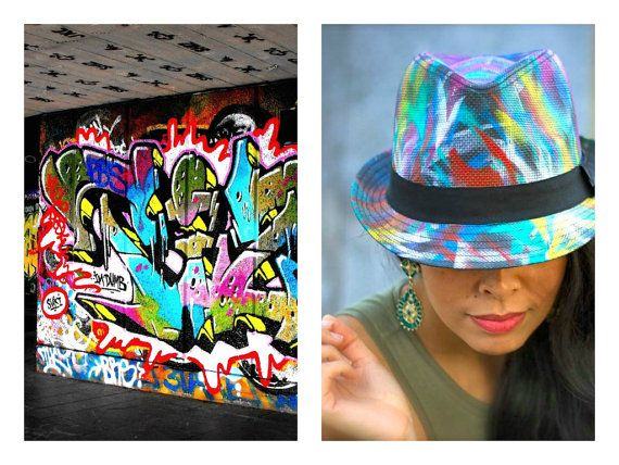 Colour Slash  Hand painted statement trilby by FeatherheadOnEtsy, $71.00