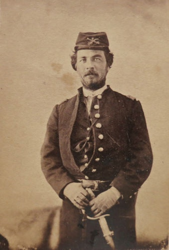 CDV Photograph of Civil War Cavalry Soldier with Saber Sword