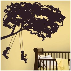 Silhouette of Kids on Tree Swings - Idea for Rich to paint.