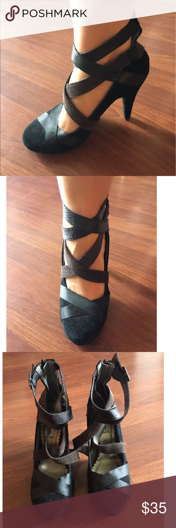 Steve Madden - Black Suede Ballet Pumps Black and brown suede ballet pumps! No scratches on heel. Barely worn. Ballet straps leather. Zipper on the back heel. Steve Madden Shoes Heels