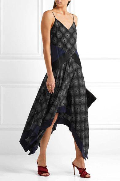 Diane von Furstenberg - Silk Satin-paneled Printed Crepe Midi Dress - Black - US14
