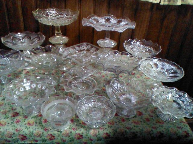 A few of our vintage glass comports from our hire section perfect for buffet tables