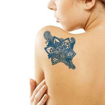 Temporary Delft Blue Art/Dutch Blue Flower Tattoo