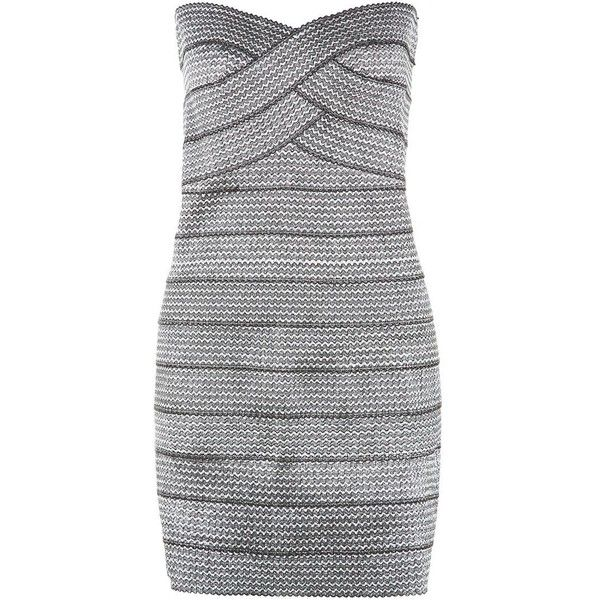 Blue Vanilla Silver Textured Bandeau Bodycon Dress ($23) ❤ liked on Polyvore featuring dresses, mini dress, cocktail mini dress, zipper dress, bodycon party dresses and night out dresses