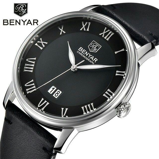 Relogio Masculino BENYAR Brand watch Men fashion casual Sport Quartz Watches Men Dive 30M Genuine Leather Wristwatches man clock
