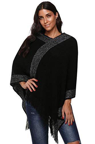 655cc5fec370 Centrawin - Poncho - Femme - noir - taille unique