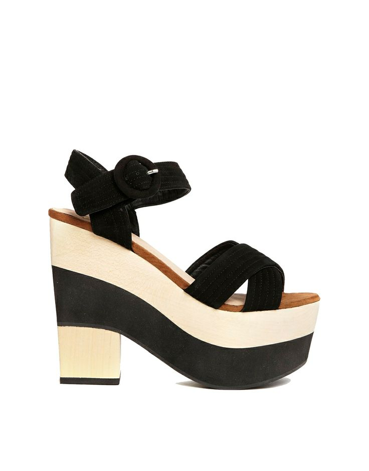 Shelly's London Colour Block Black & Beige Heeled Sandals