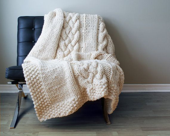 """Throw Blanket Super Chunky Double Cable Acrylic Throw Blanket / Rug Approximately 49"""" x 64"""""""