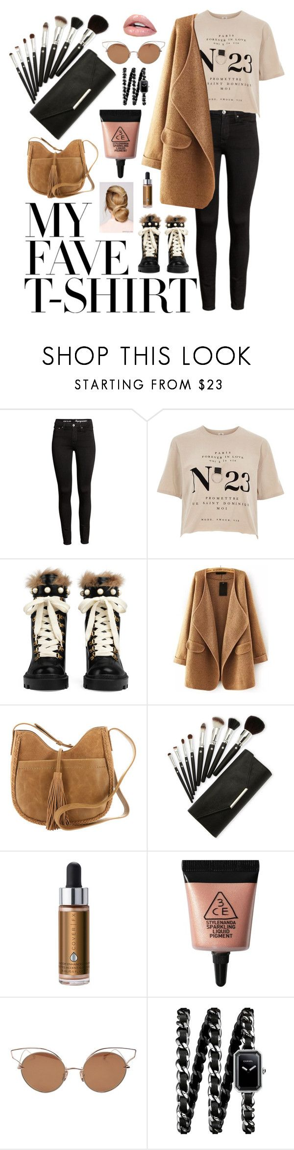 """My #️⃣1️⃣ Tshirt"" by hmytran ❤ liked on Polyvore featuring River Island, Gucci, WithChic, Lucky Brand, Sephora Collection, 3 Concept Eyes, Dita, Chanel and MyFaveTshirt"