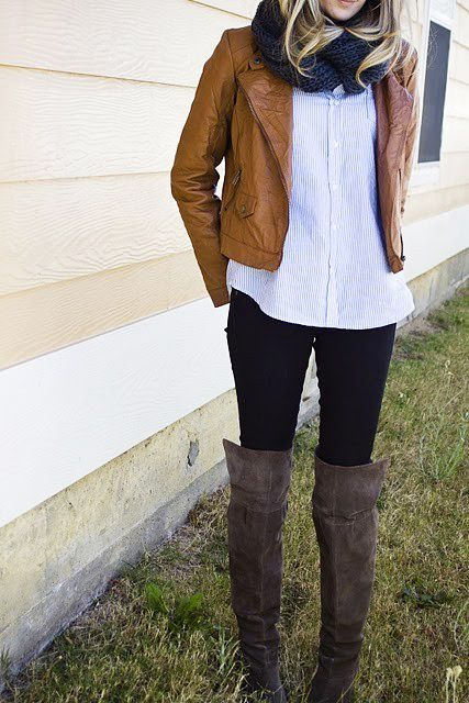 : Tall Boots, Style, Knee High Boots, Knee Boots, Fall Looks, Fall Outfits, Leather Jackets, Fall Fashion, Kneehigh