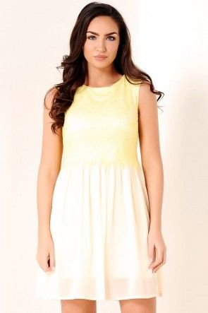 Bronte Lace Overlay Dress in Lemon