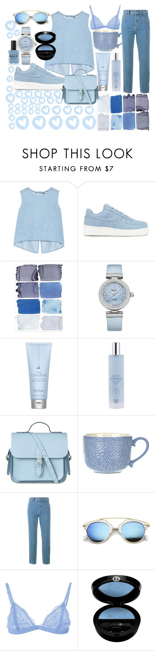 """Light blue"" by shiri-sharon ❤ liked on Polyvore featuring Steve J & Yoni P, NIKE, OMEGA, Drybar, AEOS, The Cambridge Satchel Company, Chloé, ZeroUV, Giorgio Armani and Lauren B. Beauty"