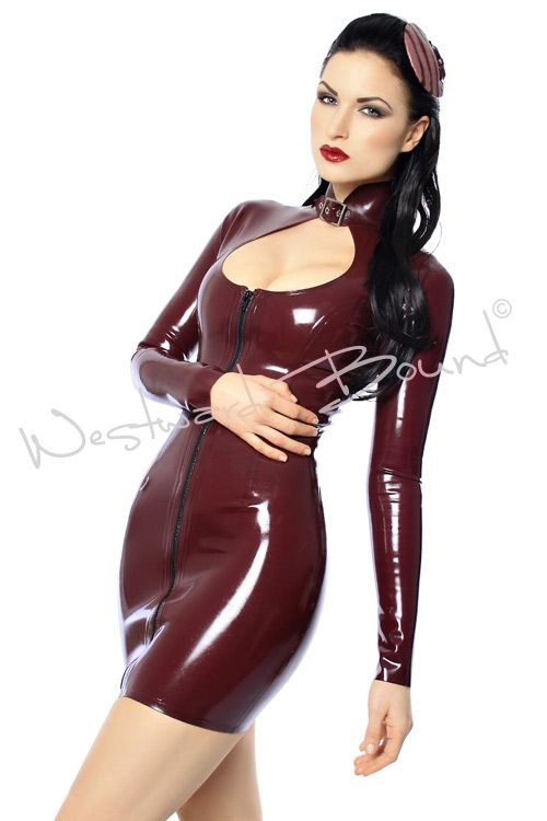 Trixi Latex `Dress worn by the beautiful Sister Sinister.  `Fabulous long sleeve latex dress with zip front and buckle neck. `  `Gorgeous pi...