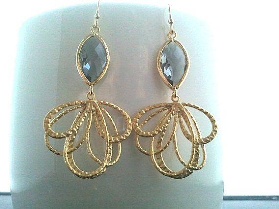 Peacock feather GRAY Gold Earrings, Drop Earrings, Dangle Earrings, bridal earrings,Wedding jewelry,christmas gift, Gemstone,Valentine's Day