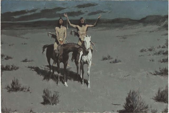 """Frederic Remington (1861-1909) Pretty Mother of the Night--White Otter is No Longer a Boy inscribed indistinctly 'Mr. """"Brown Bat Proven **""""/""""Pretty Mother of the Night""""' (on the stretcher)  oil on canvas 27 1/8 x 40 1/8 in. (68.6 x 101.6 cm.) Painted circa 1900."""