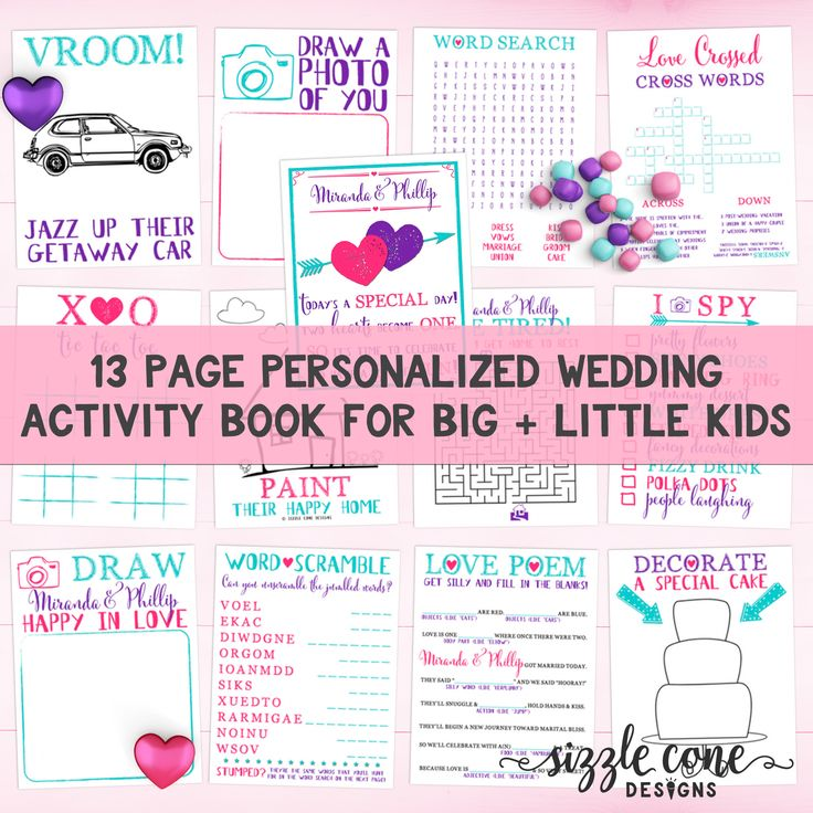 Custom Printable Kids Wedding Activity Book - Keep big kids + little kids entertained with this personalized, custom colored activity book. The parents will LOVE you for this!