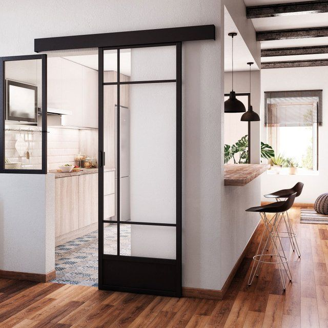 Porte coulissante vitrée / noir Emma ARTENS, H.204 x l.83 cm