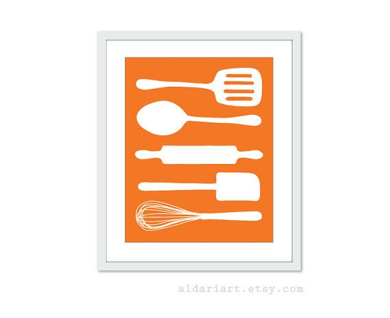Cooking utensils digital print kitchen wall art for Art prints for kitchen wall