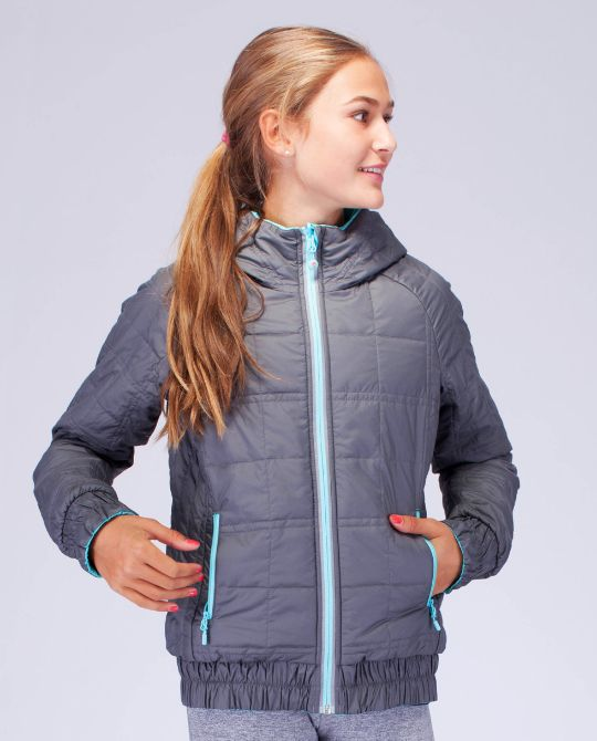 keep warm to and from class in this reversible, insulated jacket with hood. Water-resistant on one side. | Frosty Flip it Jacket
